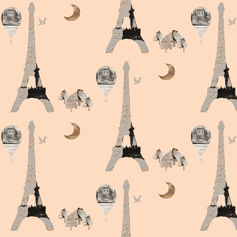 Eiffel Tower on Peach fabric by karenharveycox on Spoonflower - custom fabric