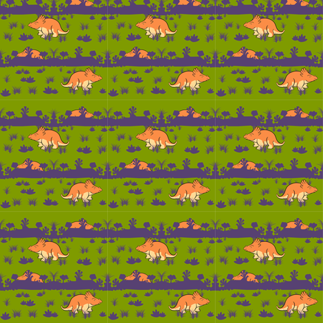 SMALLOrangeDino2012 fabric by nikky on Spoonflower - custom fabric