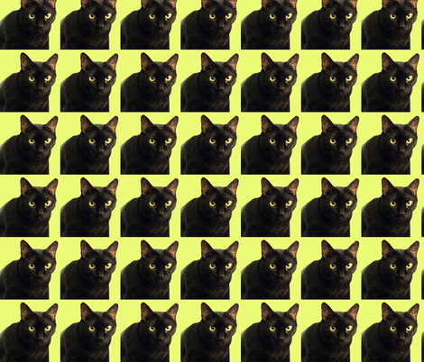 Velvet the Cat 5 Lime Green fabric by oceanpeg on Spoonflower - custom fabric