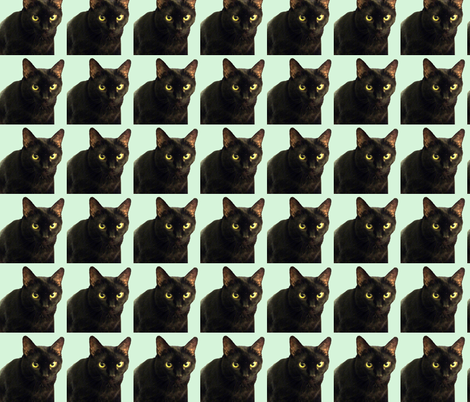 Velvet the Cat 6 Light Green fabric by oceanpeg on Spoonflower - custom fabric