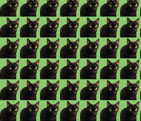 Velvet the Cat 8 Green fabric by oceanpeg on Spoonflower - custom fabric