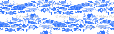 A Geometric Cetacean Parade - Bright Blue
