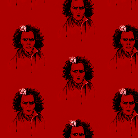 Sweeney in Red fabric by kaedralynn on Spoonflower - custom fabric