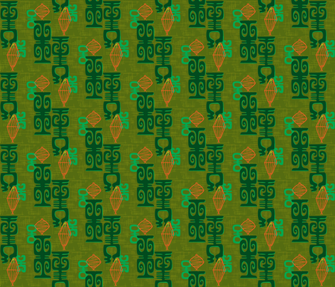 Honolulu Chinatown in olive fabric by sophista-tiki_by_dawn_frasier on Spoonflower - custom fabric