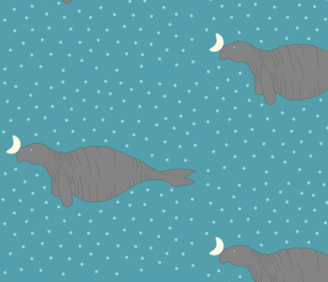Steller's Sea Cow fabric by lestey on Spoonflower - custom fabric