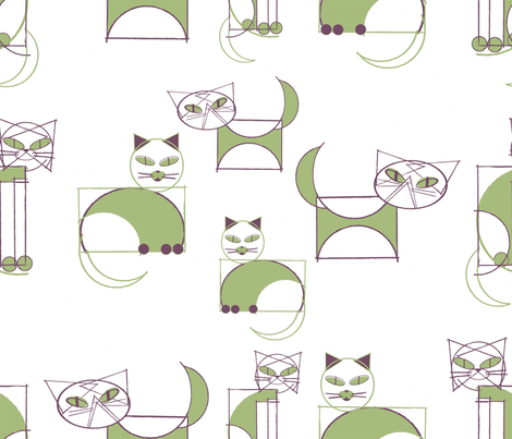 geometricats fabric by cinqchats on Spoonflower - custom fabric