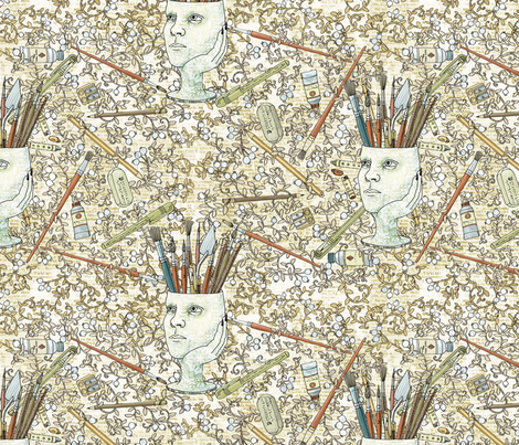 Felicia Dreaming Repeat Pattern fabric by mutanthelianthus on Spoonflower - custom fabric