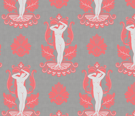 Venus_damask_coral fabric by dinorahdesign on Spoonflower - custom fabric