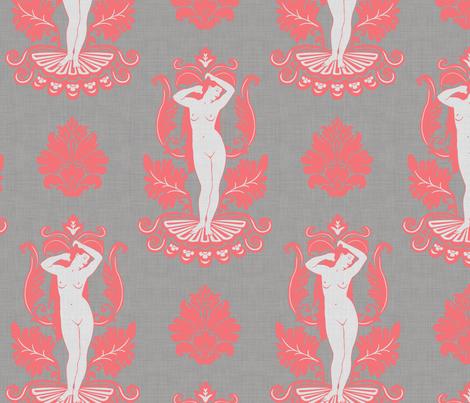 Venus_damask_coral fabric by dinorahdesign on Spoonflower - custom fabric