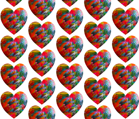 Rainbow heart on a White Background fabric by anniedeb on Spoonflower - custom fabric