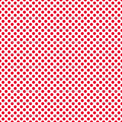 Red Polka dots on white