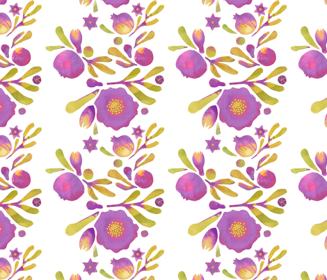 granada_floral_aubergine fabric by bee&lotus on Spoonflower - custom fabric