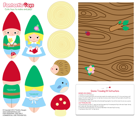 Gnome Dolls with Log Traveling Case fabric by fantastictoys on Spoonflower - custom fabric