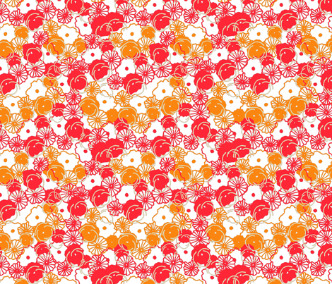 bright_red_and_orange_floral_print-01 fabric by sofiedesigns on Spoonflower - custom fabric