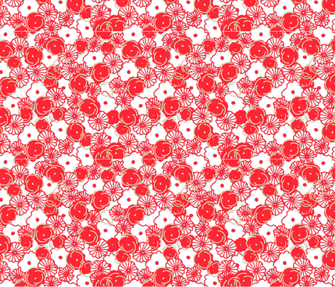red_floral_print-01 fabric by sofiedesigns on Spoonflower - custom fabric