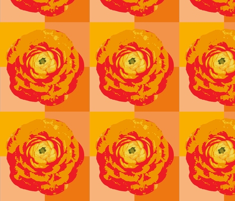 rose_with_orange_background-01 fabric by sofiedesigns on Spoonflower - custom fabric