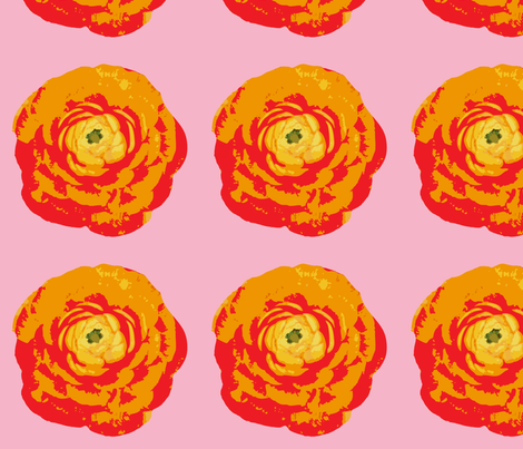 rose_with_pink_background-01 fabric by sofiedesigns on Spoonflower - custom fabric
