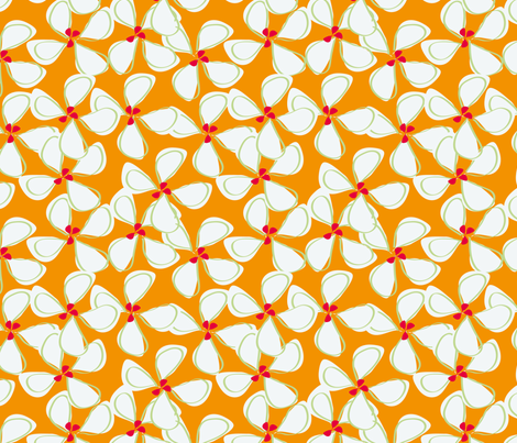 white_flowers_with_orange_background-01 fabric by sofiedesigns on Spoonflower - custom fabric