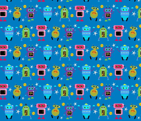 Space Robots fabric by dogsndubs on Spoonflower - custom fabric