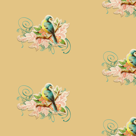 vintage bird beige fabric by myracle on Spoonflower - custom fabric