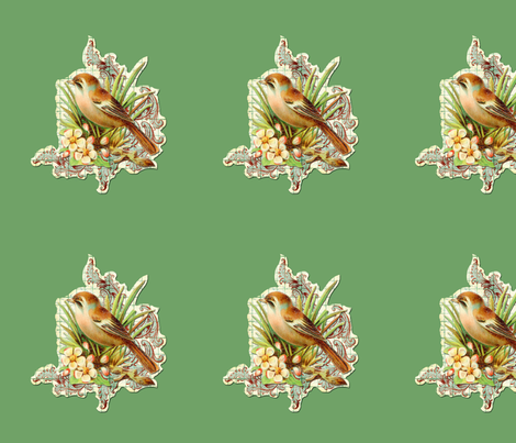 vintage bird green fabric by myracle on Spoonflower - custom fabric