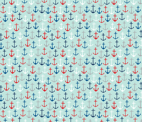 Anchors Aweigh: Nautical fabric by nadiahassan on Spoonflower - custom fabric