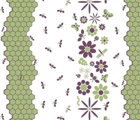 FLOWERSBUGS_BEEHIVEvert fabric by nicholeann on Spoonflower - custom fabric