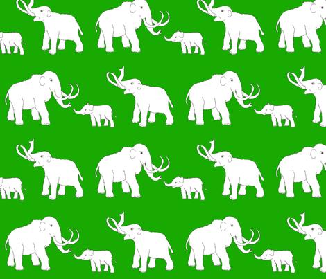 mammoths_green fabric by celebrindal on Spoonflower - custom fabric