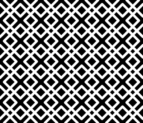 Modern Weave in white over black fabric by fridabarlow on Spoonflower - custom fabric