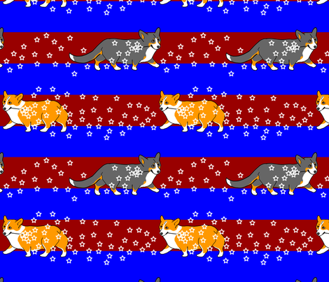 Corgis patriotic sparklers fabric by rusticcorgi on Spoonflower - custom fabric