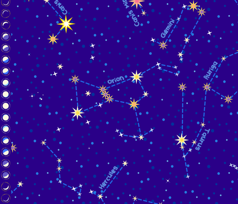 "For Lyra and Cassie - Constellation map (42"") fabric by coggon_(roz_robinson) on Spoonflower - custom fabric"