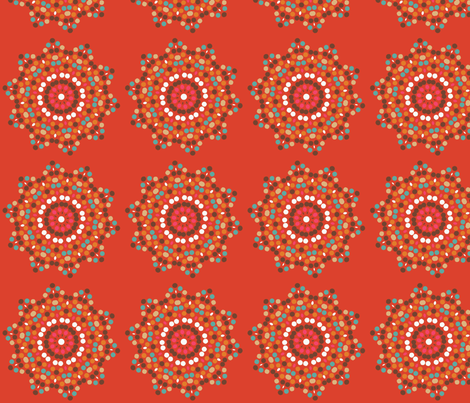mosaics on tangerine fabric by lfntextiles on Spoonflower - custom fabric