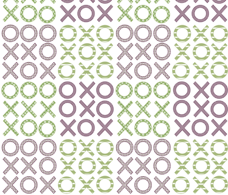 Hugs and kisses and tic tac toe fabric by vo_aka_virginiao on Spoonflower - custom fabric