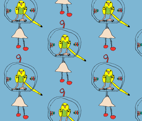 Budgie on Swing fabric by heartfullofbirds on Spoonflower - custom fabric