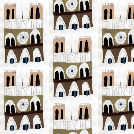 Notre Dame Cathedral fabric by heartfullofbirds on Spoonflower - custom fabric
