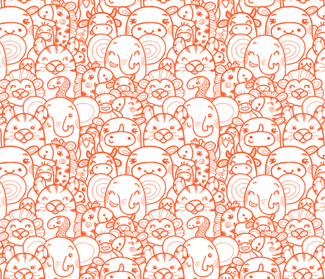 Wild Animals - Orange fabric by oksancia on Spoonflower - custom fabric