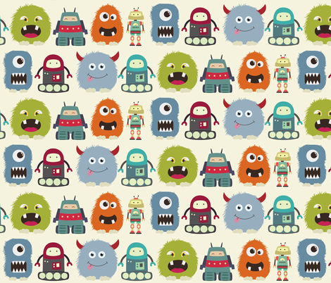 monstersandrobots fabric by dogsndubs on Spoonflower - custom fabric
