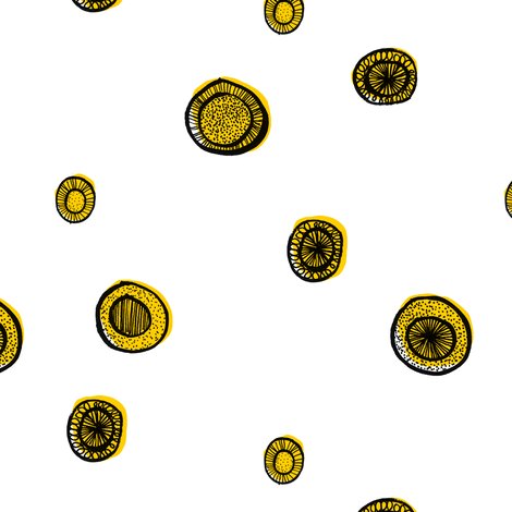 Yellow Circle Sparse fabric by amywalters on Spoonflower - custom fabric