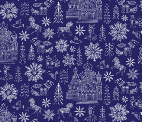 New Dr.Zhivago Russian Winter Toile  fabric by jackie_haltom on Spoonflower - custom fabric