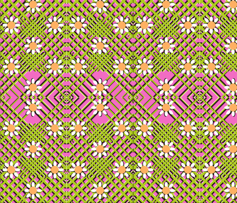 Geo Flowers Pink fabric by nezumiworld on Spoonflower - custom fabric