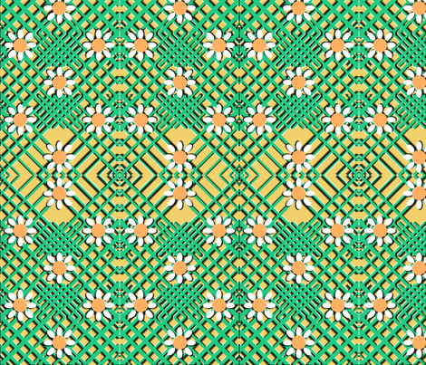 Geo Flowers Cirtus fabric by nezumiworld on Spoonflower - custom fabric
