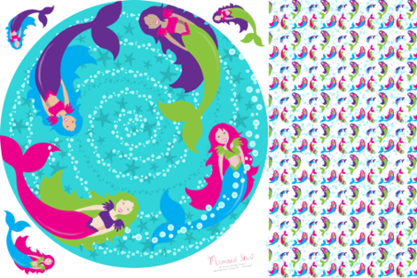 Mermaid Circle Skirt  fabric by wendyg on Spoonflower - custom fabric