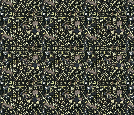 Typographic Black Tiles fabric by luckygirl_eleven on Spoonflower - custom fabric