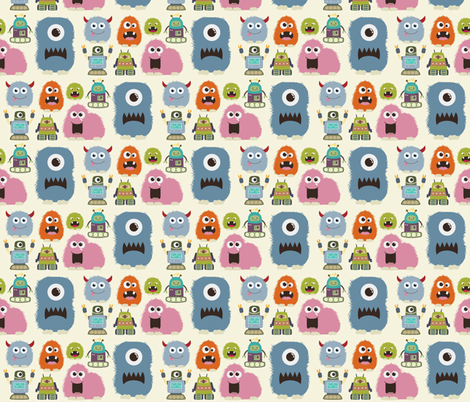 Monsters & Robots 2 fabric by dogsndubs on Spoonflower - custom fabric
