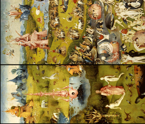 The Garden of Earthly Delights (Hieronymus Bosh, 1510) - vertical fabric by studiofibonacci on Spoonflower - custom fabric