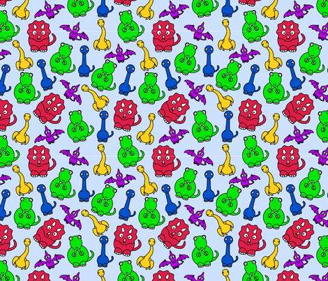 Friendly Dinos! - Primary Colors fabric by studiofibonacci on Spoonflower - custom fabric