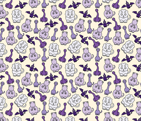 Friendly Dinos! (purple) fabric by studiofibonacci on Spoonflower - custom fabric