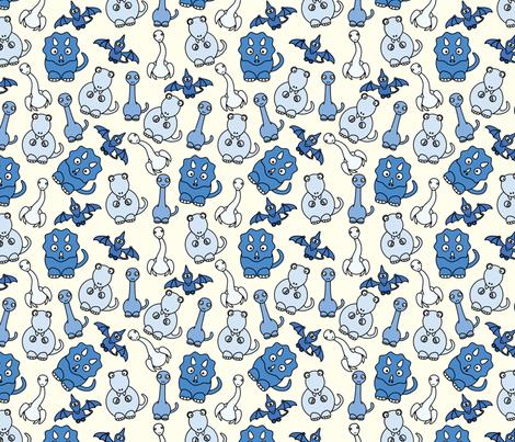 Friendly Dinos! (blue) fabric by studiofibonacci on Spoonflower - custom fabric