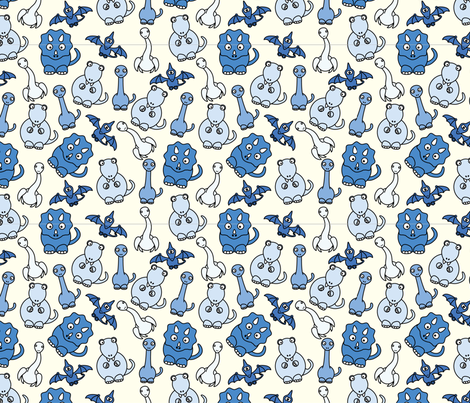 Friendly Dinos! (blue) fabric by studiofibonacci on Spoonflower - custom fabric