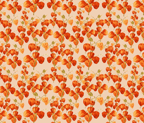 Chinese lanterns nude fabric by kociara on Spoonflower - custom fabric